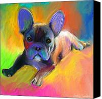 French Bulldog Canvas Prints - Cute French Bulldog puppy painting Giclee print Canvas Print by Svetlana Novikova