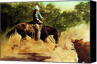 Cowboy Art Painting Canvas Prints - Cutter at Work Canvas Print by Jill Westbrook