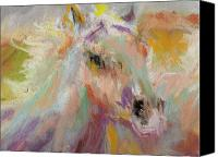 Horses Pastels Canvas Prints - Cutting loose Canvas Print by Frances Marino
