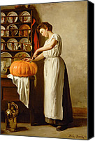 Kitchen Dresser Canvas Prints - Cutting the Pumpkin Canvas Print by Franck-Antoine Bail