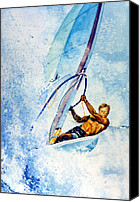 Wind Surfing Art Painting Canvas Prints - Cutting The Surf Canvas Print by Hanne Lore Koehler