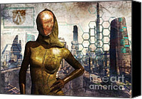 Future Tech Canvas Prints - Cyber Queen Canvas Print by Luca Oleastri