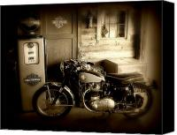 Old Photo Canvas Prints - Cycle Garage Canvas Print by Perry Webster