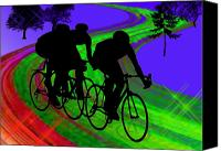 Teenager Tween Silhouette Athlete Hobbies Sports Canvas Prints - Cycling Trio on Ribbon Road Canvas Print by Elaine Plesser