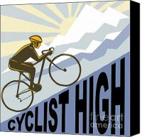 Art Deco Canvas Prints - Cyclist racing bike Canvas Print by Aloysius Patrimonio