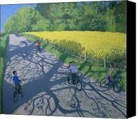 Rapeseed Canvas Prints - Cyclists and Yellow Field Canvas Print by Andrew Macara