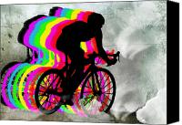 Teenager Tween Silhouette Athlete Hobbies Sports Canvas Prints - Cyclists Cycling in the Clouds Canvas Print by Elaine Plesser