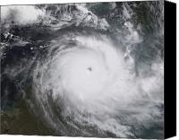 Natural Disasters Canvas Prints - Cyclone Monica In The South Pacific Canvas Print by Stocktrek Images