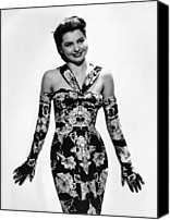 Opera Gloves Canvas Prints - Cyd Charisse Modeling Flowered Evening Canvas Print by Everett