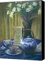 Bouquet Pastels Canvas Prints - Cyndis Tea Time Canvas Print by Penny Neimiller