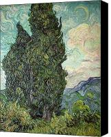 Crescent Moon Canvas Prints - Cypresses Canvas Print by Vincent Van Gogh