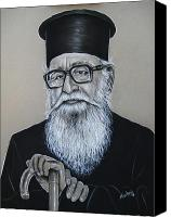 Orthodox Pastels Canvas Prints - Cypriot Priest Canvas Print by Anastasis  Anastasi