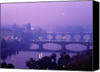 Charles Bridge Canvas Prints - Czech Republic, Prague, Vltava River, Elevated View Canvas Print by Chad Ehlers