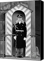 Bw Canvas Prints - Czech soldier on guard at Prague Castle Canvas Print by Christine Till