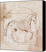 Award Digital Art Canvas Prints - da Vinci Horse in Piaffe Canvas Print by Catherine Twomey
