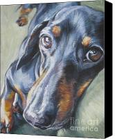 Realism Canvas Prints - Dachshund black and tan Canvas Print by L A Shepard