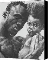 African American Art Drawings Canvas Prints - Daddys Home Canvas Print by Curtis James