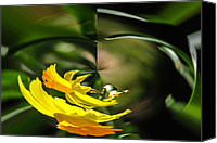 Daffodil Flowers Digital Art Canvas Prints - Daffodil 1 Rounder Canvas Print by Russel Ray
