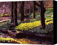 Rowboats Canvas Prints - Daffodil Park Canvas Print by David Lloyd Glover