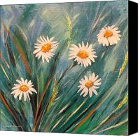 Realistic Art Canvas Prints - Daisies Canvas Print by Gina De Gorna