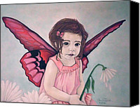 Flower Pink Fairy Child Pastels Canvas Prints - Daisy Fairy Canvas Print by Annie Seddon