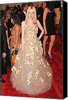 Metropolitan Museum Of Art Costume Institute Canvas Prints - Dakota Fanning Wearing A Dress Canvas Print by Everett