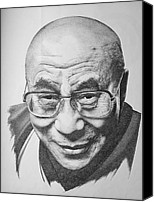 Leader Drawings Canvas Prints - Dalai Lama Canvas Print by Scott Ritchie