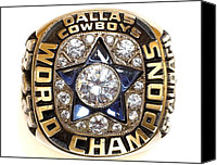 Dallas Cowboys Canvas Prints - Dallas Cowboys First Super Bowl Ring Canvas Print by Paul Van Scott