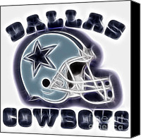 Dallas Cowboys Canvas Prints - Dallas Cowboys Helmet - Fantasy Art Canvas Print by Paul Ward