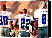 Dallas Cowboys Canvas Prints - Dallas Cowboys Triplets Canvas Print by Paul Van Scott