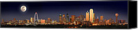 Margaret Canvas Prints - Dallas Skyline at Dusk Big Moon Night  Canvas Print by Jon Holiday