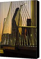 Signature Canvas Prints - Dallas Through Bridge Canvas Print by David Clanton