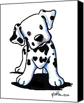 Cartoon Drawings Canvas Prints - Dalmatian Puppy Canvas Print by Kim Niles