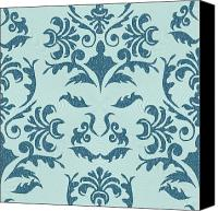 Square Tapestries - Textiles Canvas Prints - Damask Canvas Print by Subha Subha