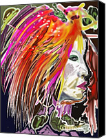 Hairstyle Digital Art Canvas Prints - Dana Canvas Print by Myrtle WILSON
