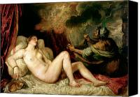 Mythological Canvas Prints - Danae Receiving the Shower of Gold Canvas Print by Titian