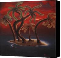 Tropical Sunset Pastels Canvas Prints - Dance of the Coconut Palms Canvas Print by Amanda Clark