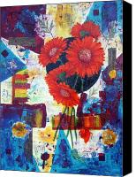 Acrylic Mixed Media Canvas Prints - Dance of the Daisies Canvas Print by Terry Honstead