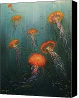 Jellyfish Painting Canvas Prints - Dance of the Jellyfish Canvas Print by Tom Shropshire
