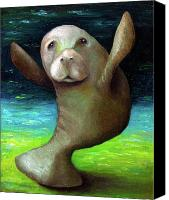 Creature Painting Canvas Prints - Dance of the Manatee Canvas Print by Leah Saulnier The Painting Maniac