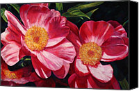 Fushia Canvas Prints - Dance of the Peonies Canvas Print by Billie Colson