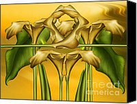 Calla Lily Mixed Media Canvas Prints - Dance Of The Yellow Calla Lilies II Canvas Print by Zeana Romanovna