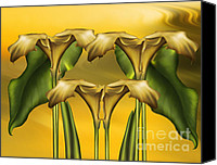 Calla Lily Canvas Prints - Dance Of The Yellow Calla Lilies Canvas Print by Zeana Romanovna