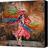 Rainbow Tapestries Textiles Canvas Prints - Dance through the color of life Canvas Print by Karina Llergo Salto