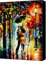 Afremov Canvas Prints - Dance Under The Rain Canvas Print by Leonid Afremov