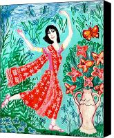 Garden Flowers Ceramics Canvas Prints - Dancer in red sari Canvas Print by Sushila Burgess