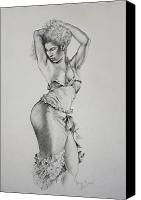 Posing Drawings Canvas Prints - Dancer Muse Study Canvas Print by Harvie Brown