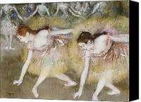 Impressionism Canvas Prints - Dancers Bending Down Canvas Print by Edgar Degas