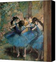 Impressionist Canvas Prints - Dancers in blue Canvas Print by Edgar Degas