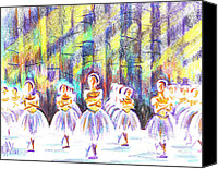 Fun Mixed Media Canvas Prints - Dancers in the Forest Canvas Print by Kip DeVore
